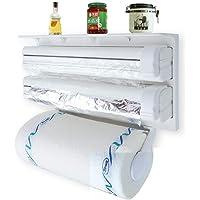 Florastic Plastic Triple Tissue Paper Dispenser 4 in 1 Foil Cling Film Tissue Paper Roll Holder for Kitchen Triple Paper…
