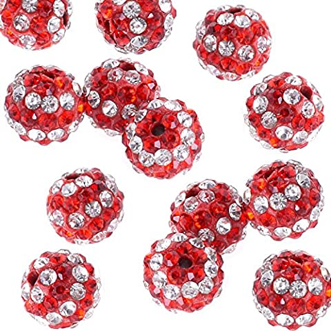 RUBYCA 20pcs Stripes Disco Ball Clay Beads 10MM Inlaid Czech Crystal fit Shamballa Jewelry Red by RUBYCA