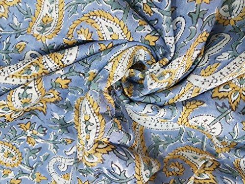 handicraftofpinkcity Carry Paisley Stoff indischen Elegant bedruckter Stoff Craft Material Vorhänge Dressing 5Meter -