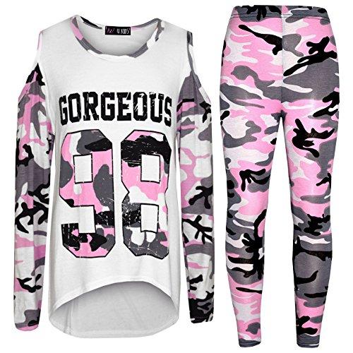 Camouflage Mädchen Kostüm - A2Z 4 Kids® Mädchen Tops Kinder Gorgeous 98 Camouflage Aufdruck - Gorgeous 98 Camo Set Baby Pink 7-8