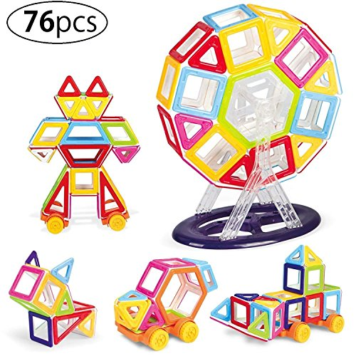 Kurtzy Magnetic Building Block DIY Construction Puzzle Toy Set for Kids Children Learning Educational Creative Activity with Certified by BIS 76 Pcs