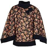 Cutecumber Girls Acrylic Floral Navy Poncho Sweater -(1947A-Navy-18)