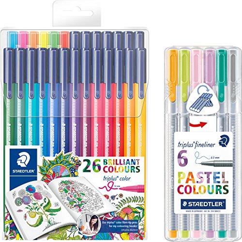 Staedtler triplus color 323 TB26JB Filzstifte, dreikant, Set mit 26 brillanten Farben, Promotion 20 + 6 gratis + 6er Pastell Fineliner