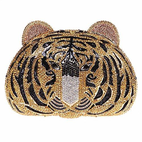 Santimon Donna Pochette Borsa Tigre Borse Lusso Strass Borse Da Festa di Nozze Sera Con Tracolla Amovibile E Pacco Regalo 4 Colori giallo