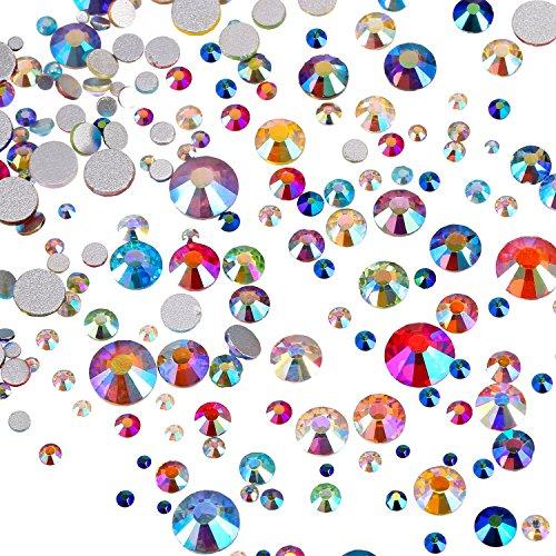1000 Stück Flache Rückseite Künstliche Edelsteine Flatback Strass Runde Glas Kristalle 7 Gemischte Größen 1,5 - 6 mm für Nagel Kunst Telefon Handwerk DIY (Mehrfarbig AB) (Multi-farbigen Glas-edelsteine)