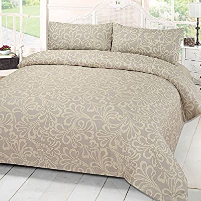 Dreamscene Mayfair Damask Duvet Bedding Set With Pillowcases, Cream, Single - cheap UK light store.