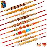 #4: Pair Rakhi Dora Rakhi Combo of 10 Rakhi Set for Brother with Greeting Card Roli Chawal
