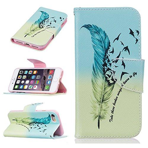 Ooboom® iPhone 8 Plus/iPhone 7 Plus Hülle Flip PU Leder Schutzhülle Tasche Case Cover Wallet Standfunktion mit Kartenfächer Bargeld Aussparrung für iPhone 8 Plus/iPhone 7 Plus - Bär Feder