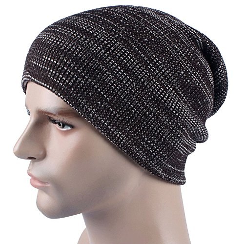 uleade-beanie-hat-knit-hat-winter-skull-wool-hat-windproof-for-men-women-coffee