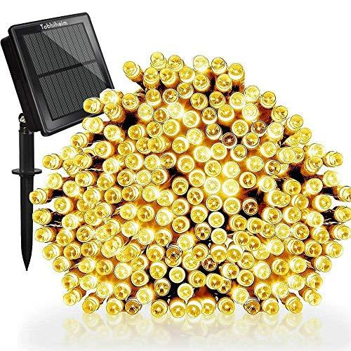 Tobbiheim Solar Lichterkette Außen 200 LED 22 Meter Wasserdicht IP65 mit USB Aufladung Stimmungslichter 8 Modi Außen und Innen Dekoration für Weihnachten, Garten, Terrasse,...