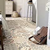 livingfloor® PVC imitación de suelo de baldosas de Shabby Retro Mediterran Natural 2m ancho, longitud variable Metro