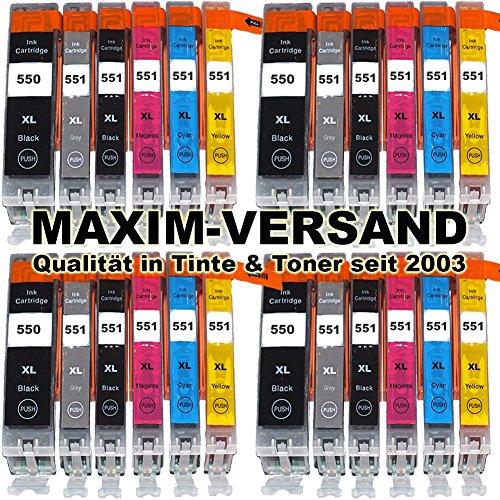 Preisvergleich Produktbild 24x MAXIMPRINT XXL Tinten-Patronen SET mit Chip kompatibel zu Canon PGI-550 PGBK XL & CLI-551 Grey Cyan Yellow Magenta Black XL Multipack passend zu Canon Pixma IP8750 MG6350 MG7150 MG7550 (KEIN Original) Druckerpatronen Set von MAXIM-VERSAND