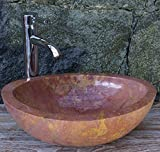 Guru-Shop Massives Ovales Marmor Aufsatz-Waschbecken, Waschschale, Naturstein Handwaschbecken 44x34 cm, Waschtische, Waschbecken & Badewannen