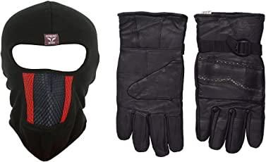 H-Store Balaclavas Unisex Lycra Anti Pollution Dust Sun Protecion Face Cover Mask with Black Winter Gloves