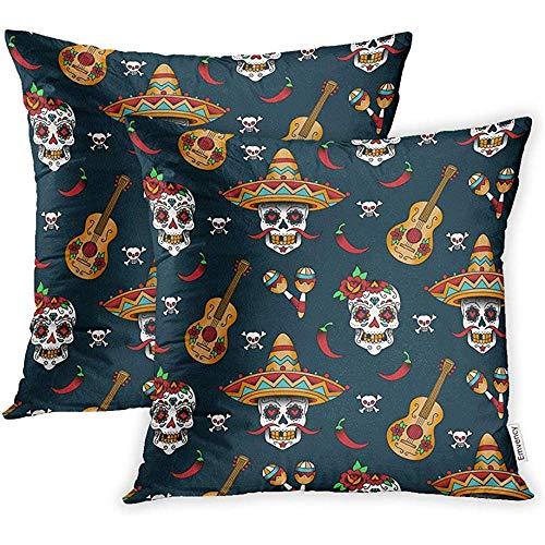 W-wishes Coprisedili per Cuscini Red Pattern Mexican Sugar Skulls Chili Pepper sul Quadrato Blu della Federa per Chit