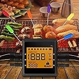 OUTAD Schnurloses Fleisch-Thermometer, digitales, fernbedienbares Koch-Thermometer für Lebensmittel, sofortiges Messen mit 6Sonden für Grill, Ofen, Küche, Barbecue-Smoker