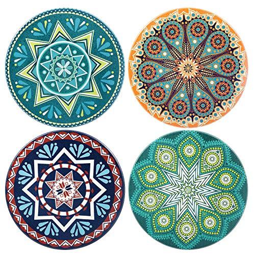 Comius Untersetzer Keramik 4 Pcs Absorbierenden Untersetzer, Ceramic Coaster, Bestehend aus Hochtemperatur Verstärktem Porzellan und Kork, Untersetzer Set für Glas, Tassen, Vasen (Bohemia) -