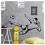 Grandora W5486 Wandtattoo Fußballspieler mit Ball I braun (BxH) 90 x 57 cm I Fußball Kinderzimmer Kinder Wandsticker Wandaufkleber