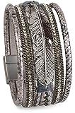 styleBREAKER weiches Armband mit Strasssteinen, Flechtelementen, Kette und Feder, Magnetverschluss, Damen 05040040, Farbe:Antik-Silber