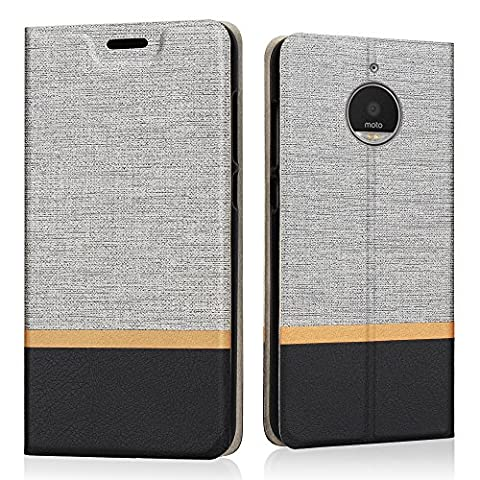 Moto E4 Case, Riffue Slim Retro Denim Pattern PU Leather Flip Folio Protective Cover [Flap Book] for Motorola Moto E4 with Card Slots and Kickstand Function -