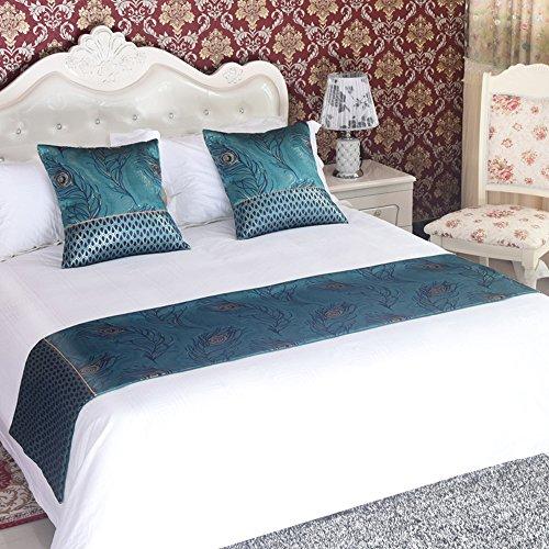 yazi Luxe Moderne Chemin de lit matelassé Couvre-lit décoratif pour hôtel Maison Chambre à Coucher Parure de lit en Lin Décoration Ptéris à Fleurs 50 x 180 cm