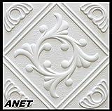 10 m2 Deckenplatten Styroporplatten Stuck Decke Dekor Platten 50x50cm, ANET
