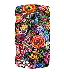 PrintVisa Colorful Flower Pattern 3D Hard Polycarbonate Designer Back Case Cover for Samsung Galaxy S Duos S7582