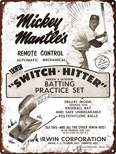 Fluse 1957 New Yk Yankee Mickey Mantle Switch Hitter Baseball Vintage Metal Art Chic Retro Blechschild 8 x 12 Zoll Metallschilder - Mickey Mantle Yankees