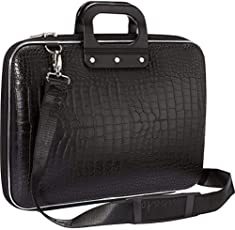 "Allium Stylish Unisex Hard Shell Briefcase Black Laptop Bag with Strap for 15.6"" Laptop"