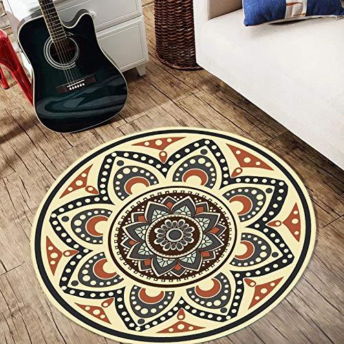 YUFEI Runde Anti-Skid Esszimmer Teppich Schlafzimmer Stuhl Wohnzimmer Matte Traditionellen Vintage Blumen Teppiche (Farbe : Orange, größe : 100cm)