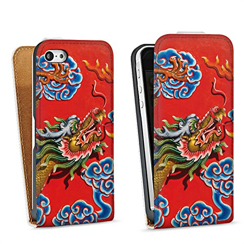Apple iPhone 5s Housse Étui Protection Coque Chine Dragon Motif Sac Downflip blanc