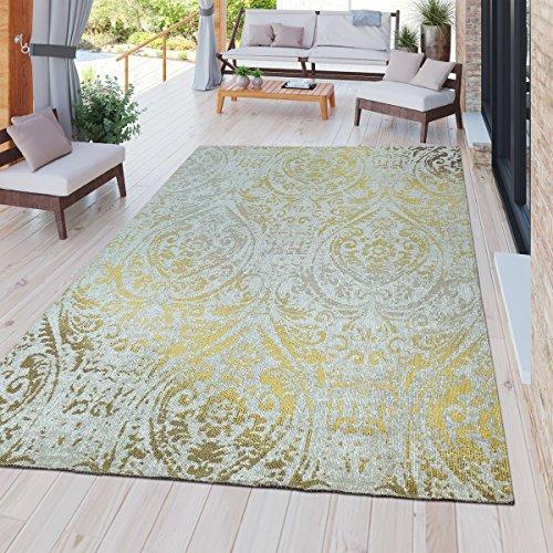 door Teppich Wetterfest für Innen & Außenbereich Barock Design In Gelb, Größe:80x250 cm ()