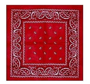 Top Brand - 100% Cotton Paisley Design Bandana - Rouge