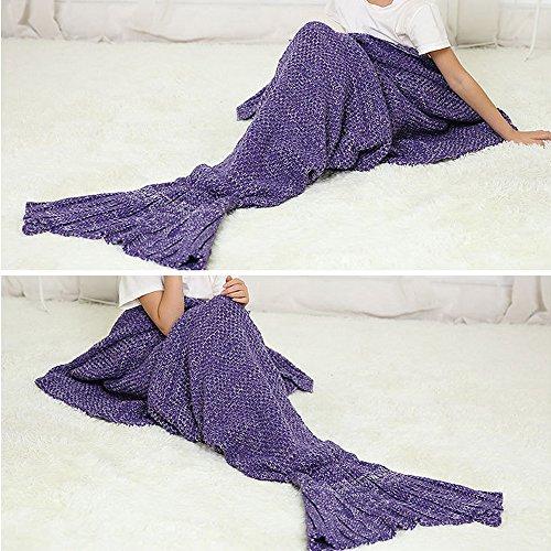 eodo Meerjungfrau Schwanz Decke, handgefertigt Sofa, Wrap Schlafsack, Hohe Dichte, weich und warm Purple(child)