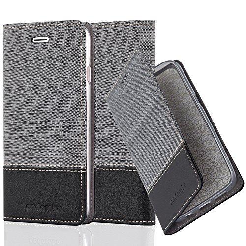 Apple iPhone 8 / 7 / 7S Hülle in DUNKEL-BLAU SCHWARZ von Cadorabo - Handy-Hülle im Stoff Design mit Magnet-Verschluss Standfunktion Karten-Fach Case Cover Schutz-hülle Tasche Book Klapp Style GRAU-SCHWARZ