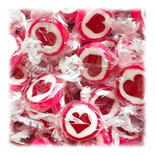 Herzbonbons zu Hochzeit Taufe Kommunion 500g rot-weiß - handgewickelte Rocks-Bonbons mit rotem Herz - Sorte Erdbeere - Tischdeko Nascherei Gastgeschenk