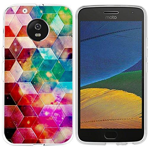 Moto G5Plus Fall muqr Motorola G5Plus Cover 5. Generation-Gummi Schutz Halloween Kürbis Katze Fledermaus Design, Geometric