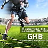 GHB Escalera de Entrenamiento Escalera Agilidad Fitness Velocidad Coordinación de Fútbol 6 Metros 12 Peldaño Amarillo