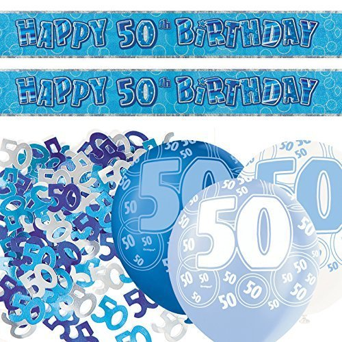 Blue Glitz 50th Birthday Banner Party Decoration Kit