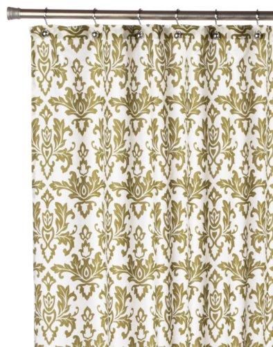 Salbei Dusche (Carnation Home Fashions Damast Stoff Vorhang für die Dusche, Salbei auf Elfenbeinfarben)