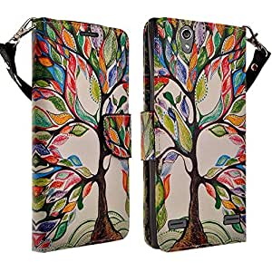 HTC Desire 626 / 626s Case- Magnectic Leather Folio Flip Book Wallet Pouch Case Cover With Fold Up Kickstand and Detachable Wrist Strap for HTC Desire 626 / 626s (Colorful Tree)