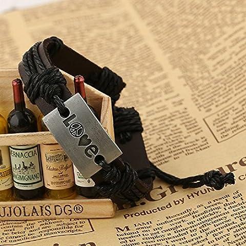 XJoel Mens regolabile Vintage Style Leather Wrap Wristband nero corda Bracciale Nero