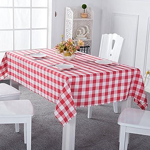 Asvert Nappe Rectangulaire Carreaux Toile Cirée Antitaches de Table pour Restaurant Salle à Manger, Rouge (140x220cm)