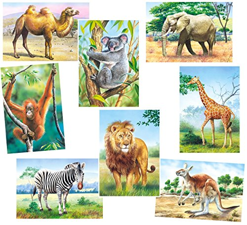 Unbekannt 4 Stück: Mini Puzzle / Minipuzzle 24 Teile - Tiere / Zootiere - für Kinder Kinderpuzzle Minipuzzles Giraffe Löwe AFFE Zebra Zoo Tier Afrika