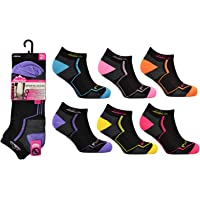 6 Pairs Ladies Bamu Cushioned Low Cut Breathable Ankle Trainer Socks For Casual Running Walking Fitness Outdoor Sports…