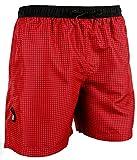 GUGGEN Mountain Herren Badeshorts Beachshorts Boardshorts Badehose Schwimmhose Männer kariert Farbe Rot XL