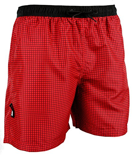GUGGEN Mountain Herren Badeshorts Beachshorts Boardshorts Badehose Schwimmhose Männer kariert Farbe Rot M