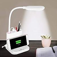 Lampe de Bureau Sans Fil, NovoLido Lampe de Bureau Enfant LED Rechargeable avec Port de Chargement USB et Porte-Stylo, 2…