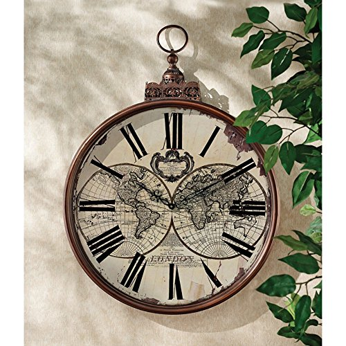 design-toscano-mappe-monde-1744-wall-clock