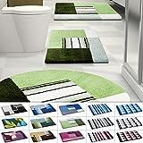 Design Badematte | rutschfester Badvorleger | viele Größen | zum Set kombinierbar | Öko-Tex 100 zertifiziert | viele Muster zur Auswahl | Quadrate - Grün (70 x 120 cm)